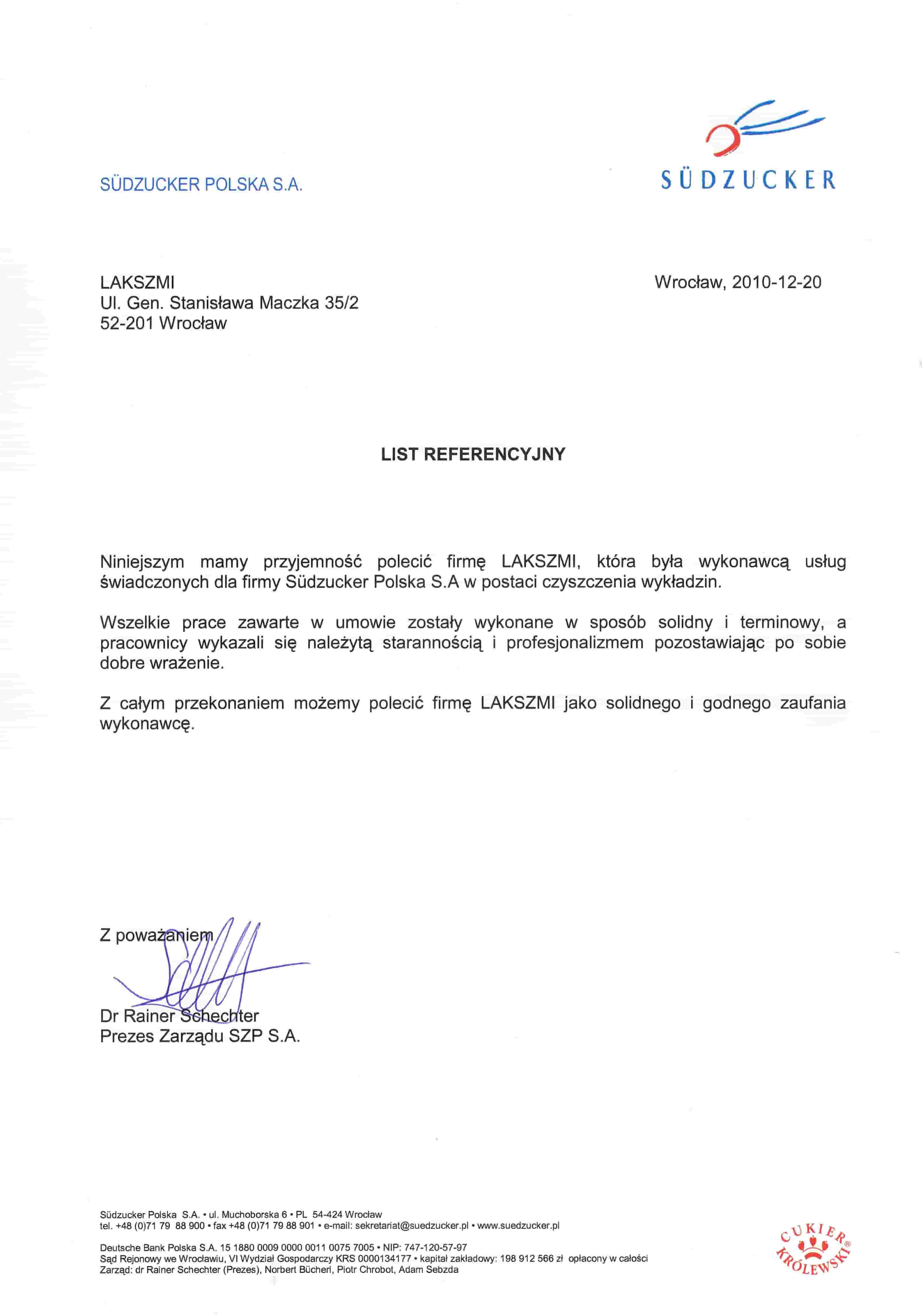 Referencje Pranie Wykładzin we Wrocławiu